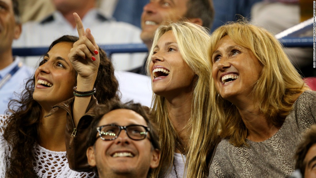 Nadal's trio of female supporters include (L-R): Girlfriend  Xisca Perello, sister Isabel Nadal, and mother Ana Maria Parera.