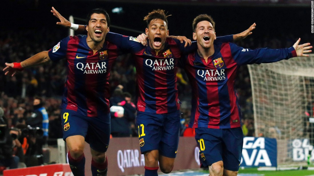FC Barcelona's talented attacking trio -- from left, Luis Suarez, Neymar and Lionel Messi -- celebrate a goal during a league match in Barcelona, Spain, on Sunday, January 11. Barcelona defeated Atletico Madrid 3-1.