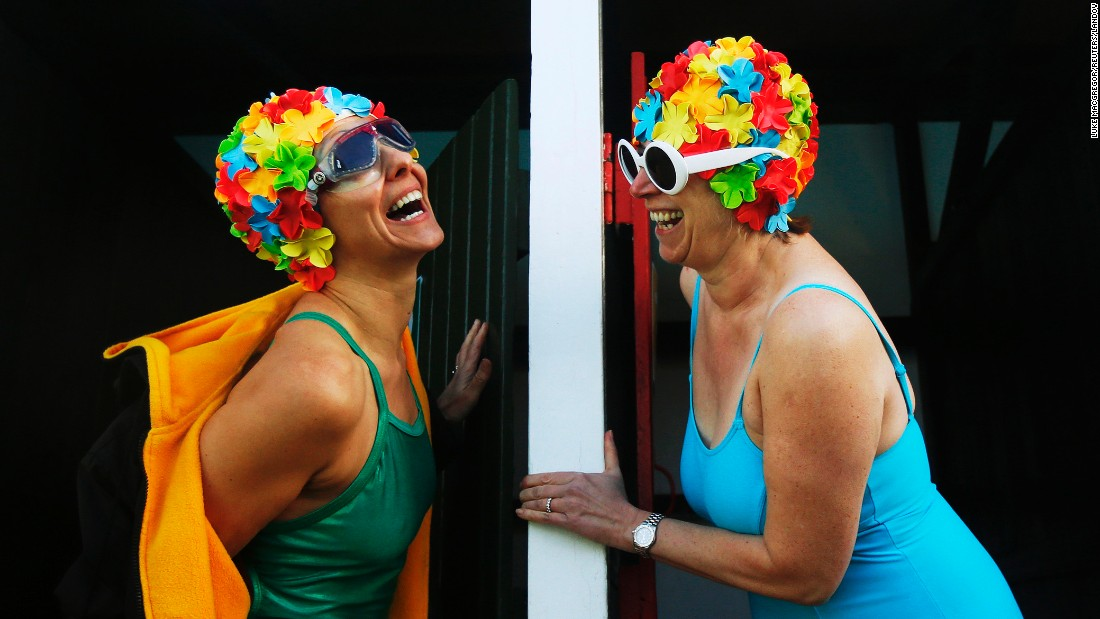Women prepare to get into the pool at the Cold Water Swimming Championships, which were held Saturday, January 24, in London.