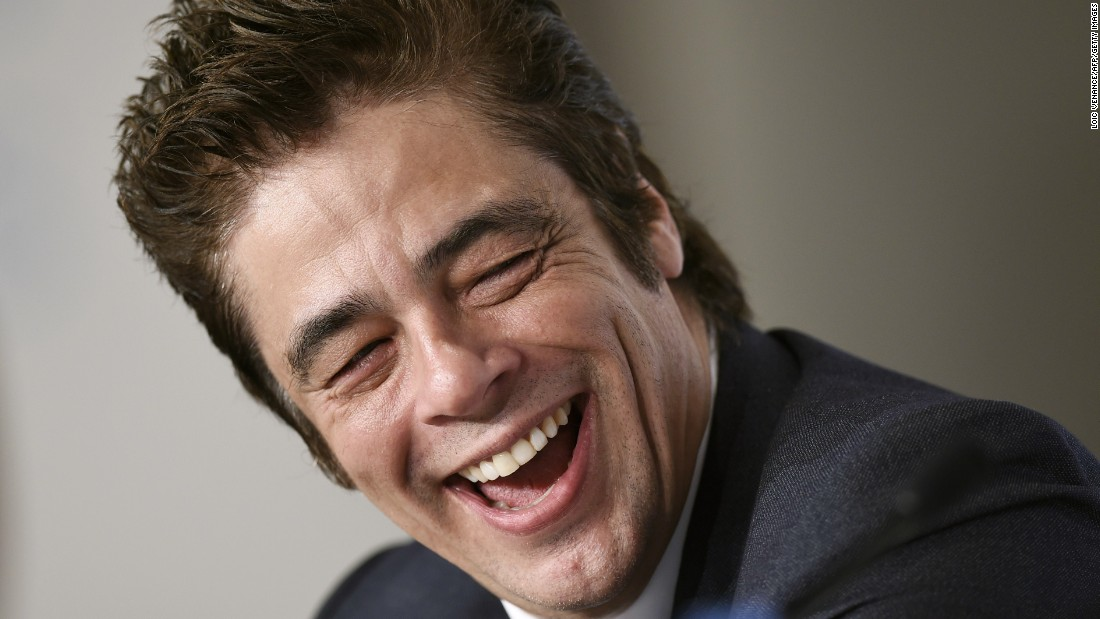 "Actor Benicio Del Toro laughs during a press event for the film ""Sicario"" that was held Tuesday, May 19, at the Cannes Film Festival in France."