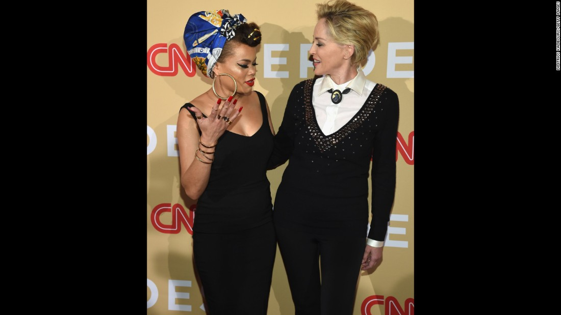 "Singer Andra Day, left, and actress Sharon Stone meet on the red carpet. Day performed her inspiring anthem ""Rise Up"" during the show. Since 2007, CNN's Peabody Award-winning, Emmy-nominated franchise has profiled more than 250 Heroes and received more than 50,000 nominations from more than 100 countries."
