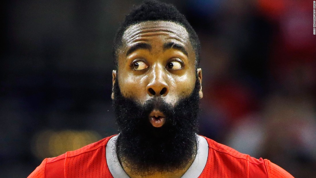 Houston's James Harden celebrates a basket during a home game against Toronto on Saturday, February 21.