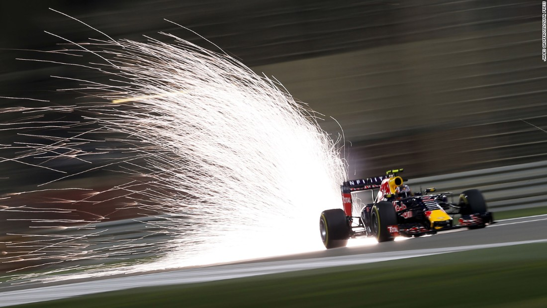 Sparks fly from the Formula One car of Daniil Kvyat in this long-exposure photo taken Sunday, April 19, at the Bahrain Grand Prix.