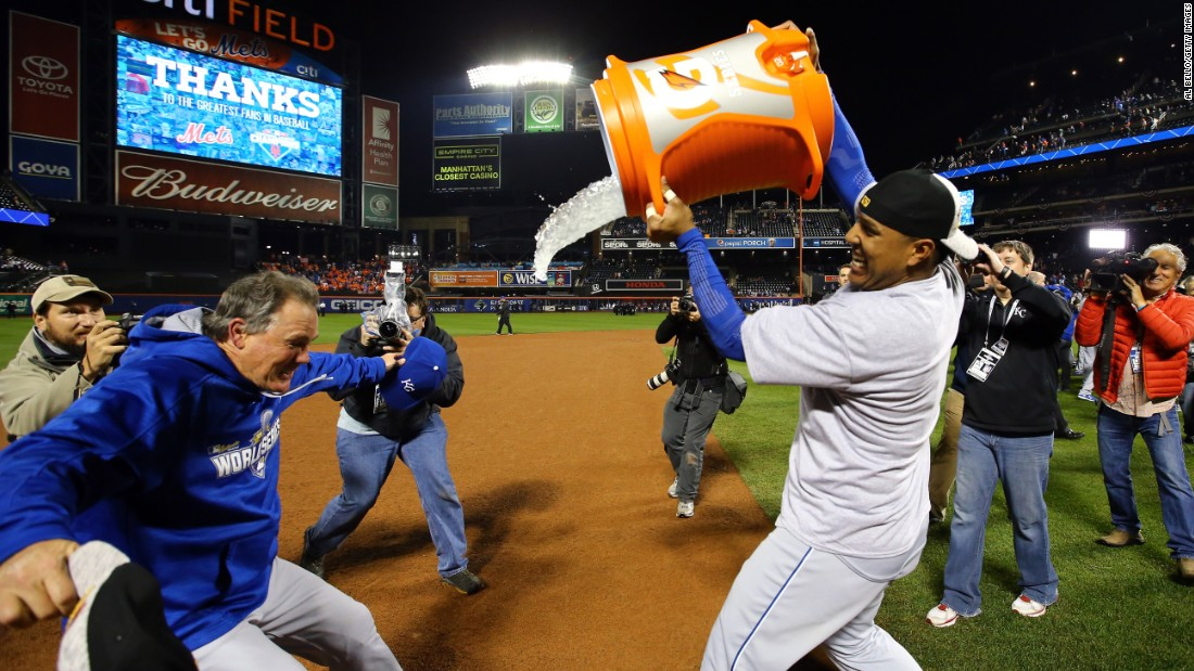 "Salvador Perez douses his manager, Ned Yost, after the Kansas City Royals <a href=""http://www.cnn.com/2015/11/02/us/world-series-mets-royals-game-5/"" target=""_blank"">won the World Series</a> on Sunday, November 1. Perez, the Royals' catcher, was named Most Valuable Player as the Royals defeated the New York Mets by four games to one. It is Kansas City's first world title since 1985."