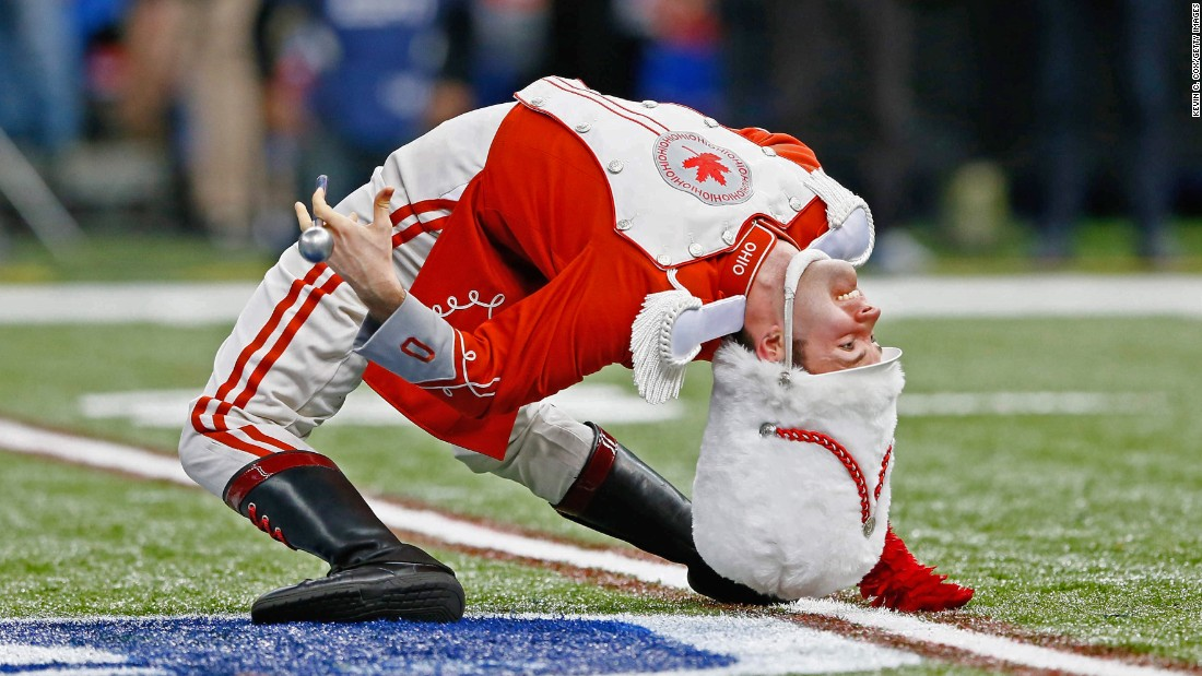 A member of Ohio State's marching band performs before the Sugar Bowl starts in New Orleans on Thursday, January 1.