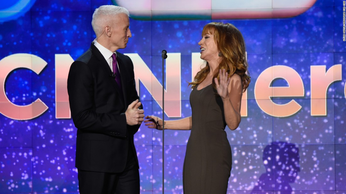 CNN's Anderson Cooper -- host of the event -- enjoys a light moment with comedian Kathy Griffin.