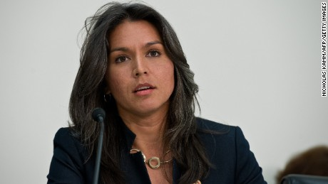 "U.S. Democratic Representative from Hawaii Tulsi Gabbard speaks during a hearing of the Tom Lantos Human Rights Commission (TLHRC) on ""The Plight of Religious Minorities in India"" on Capitol Hill in Washington on April 4, 2014."