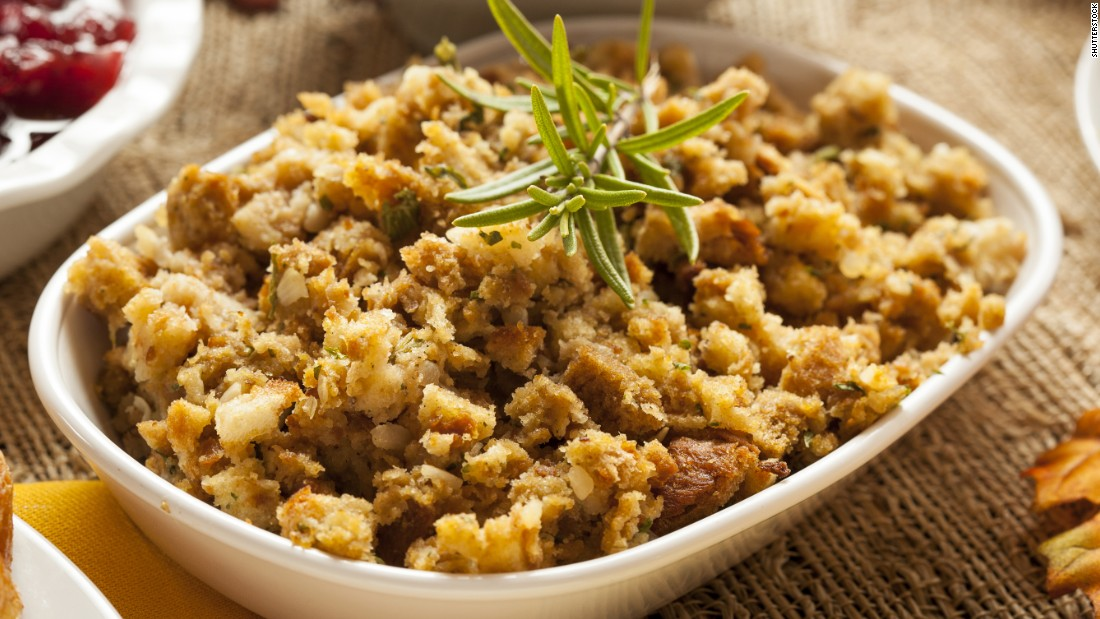 Traditional stuffing is a cornucopia of ingredients, and many of them pack in the calories. Bread stuffing often has sausage, nuts and fruit, and about 350 calories for a one-cup serving. Haas suggests using chicken or turkey sausage, which are lower in calories than pork or beef.
