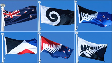 The existing flag (top-left) and five new contenders