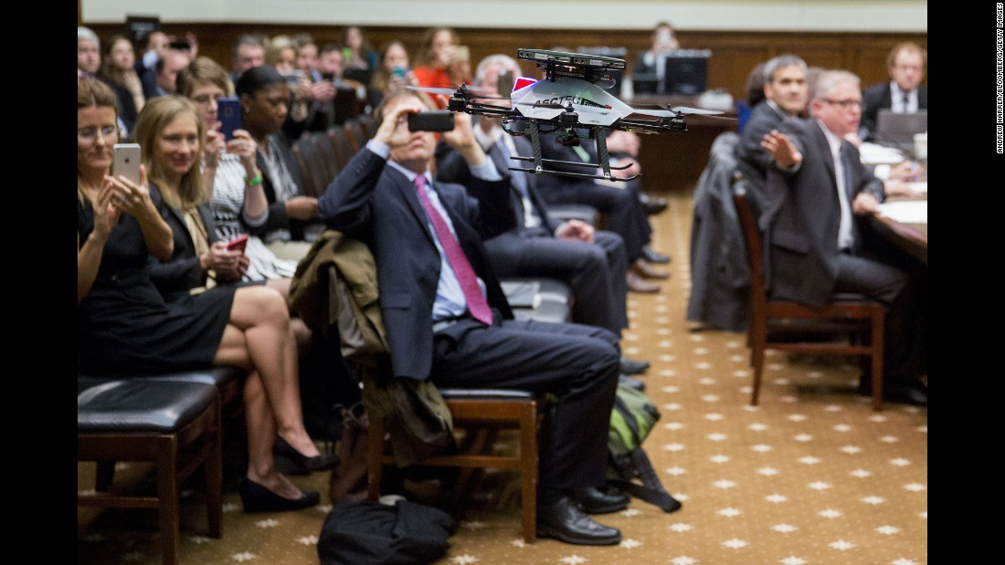 A drone is demonstrated during a House subcommittee hearing in Washington on Thursday, November 19. The hearing was titled The Disrupter Series: The Fast-Evolving Uses and Economic Impacts of Drones.