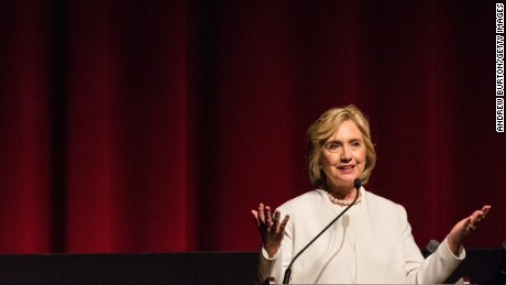 "Democratic presidential hopeful Hillary Clinton speaks at the premier of the documentary film ""Makers: Once and For All"" at the School of Visual Arts on November 19, 2015 in New York City."
