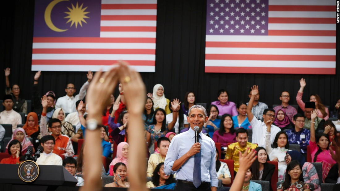 President Barack Obama smiles as he pauses for a question during the Young Southeast Asian Leaders Initiative town hall meeting at Taylor's University in Kuala Lumpur, Malaysia, on Friday, November 20.