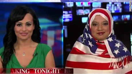 The woman who wore an American flag hijab on Fox_00001006