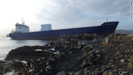 "7,000 ton cargo vessel ""Lysblink Seaways"" which ran aground on the north-west coast of Scotland after the officer on watch drank half a liter of rum."