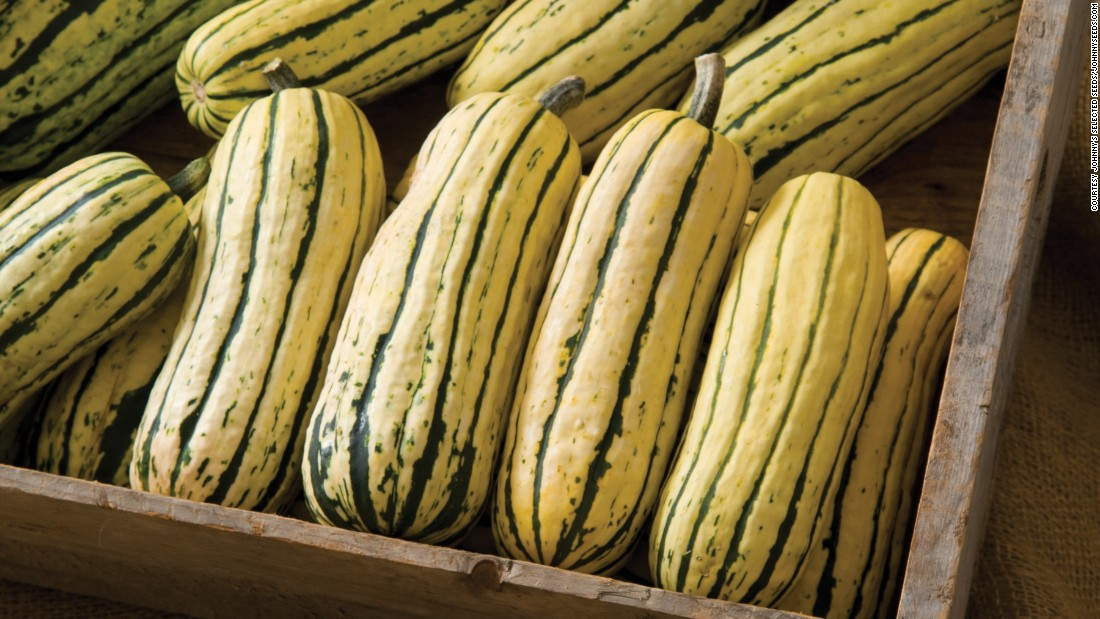 The delicata squash tastes sweet and rich and is a filling alternative to carbs.  This winter squash is great for roasting and for soups and with its thinner skin you can eat it. They are rich in beta carotene, which is good to boost your immune system, especially in winter