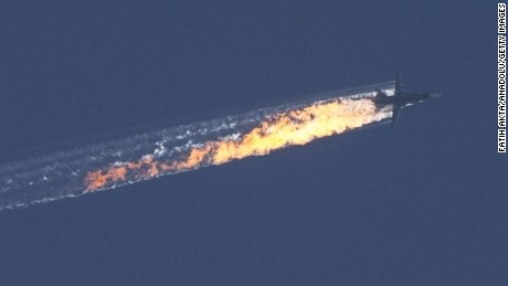 Photos of Russian warplane crash
