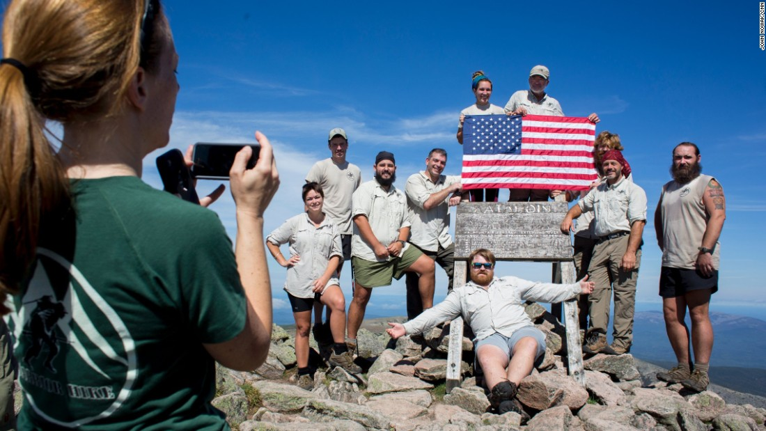 Warrior Hike participants summit Mt. Katahadin in Maine after their six-month journey on the Appalachian Trail.