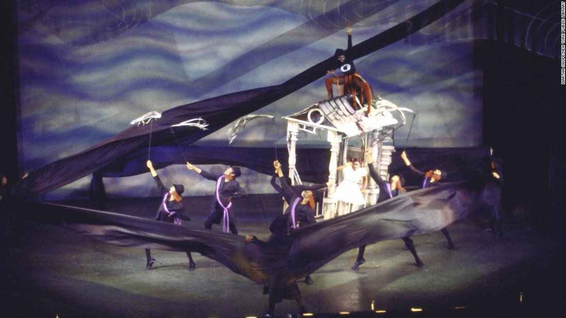 The famous tornado scene is acted out on stage.