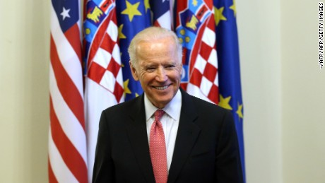 US Vice-President Joe Biden is pictured following a meeting with Croatian Prime Minister in Zagreb on November 25, 2015.  AFP PHOTO / AFP / - (Photo credit should read -/AFP/Getty Images)