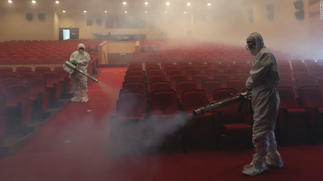 "<strong>June 12:</strong> As a precaution against the spread of the MERS virus, workers spray antiseptic solution at an art hall in Seoul, South Korea. A few dozen people were killed <a href=""http://www.cnn.com/2015/06/08/world/gallery/south-korea-mers/index.html"" target=""_blank"">in an outbreak</a> that started in May."