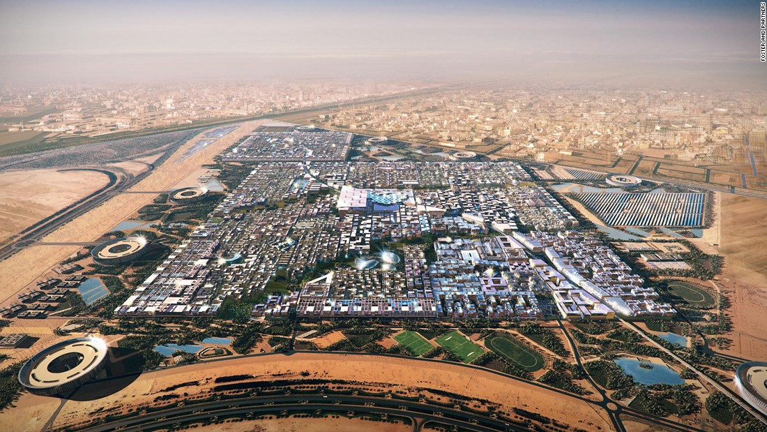 Abu Dhabi in the UAE is building what they say will be the world's first zero-carbon city. Not only will it be free of cars and skyscrapers, it will be solar-powered.