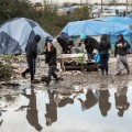calais refugee jungle november rain