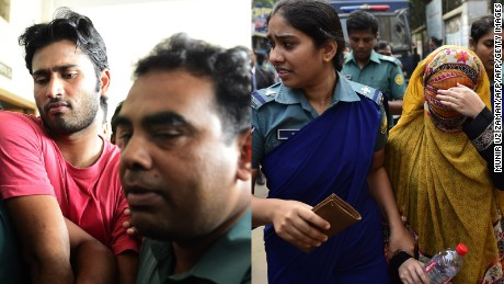 Shahadat Hossain and his wife, Nritto Shahadat, are escorted by security to court appearances in October.