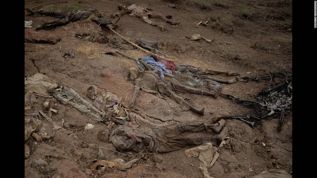 <strong>April 8:</strong> A mass grave is seen near the Abattoir in Gwoza, Nigeria. It hadn't been determined who these people were or how they were killed, but they were presented to the media as victims of Boko Haram, an Islamist militant group waging a campaign of violence in northern Nigeria.