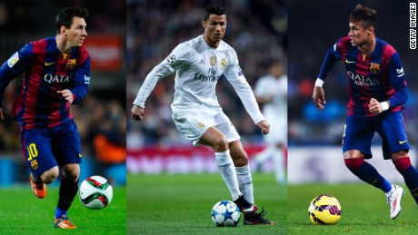 Ballon d'Or: Messi, Ronaldo and Neymar shortlisted