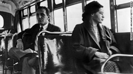 Rosa Parks seated toward the front of the bus, Montgomery, Alabama, 1956. (Photo by Underwood Archives/Getty Images)