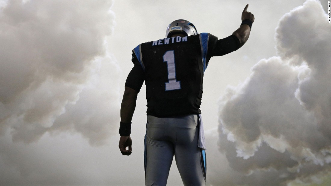 Carolina Panthers quarterback Cam Newton is introduced before an NFL game in Charlotte, North Carolina, on Monday, November 2.