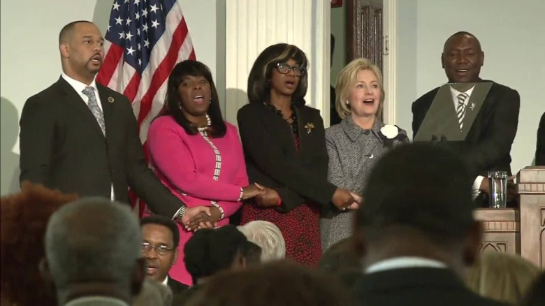 Hillary Clinton singing 'we shall overcome'