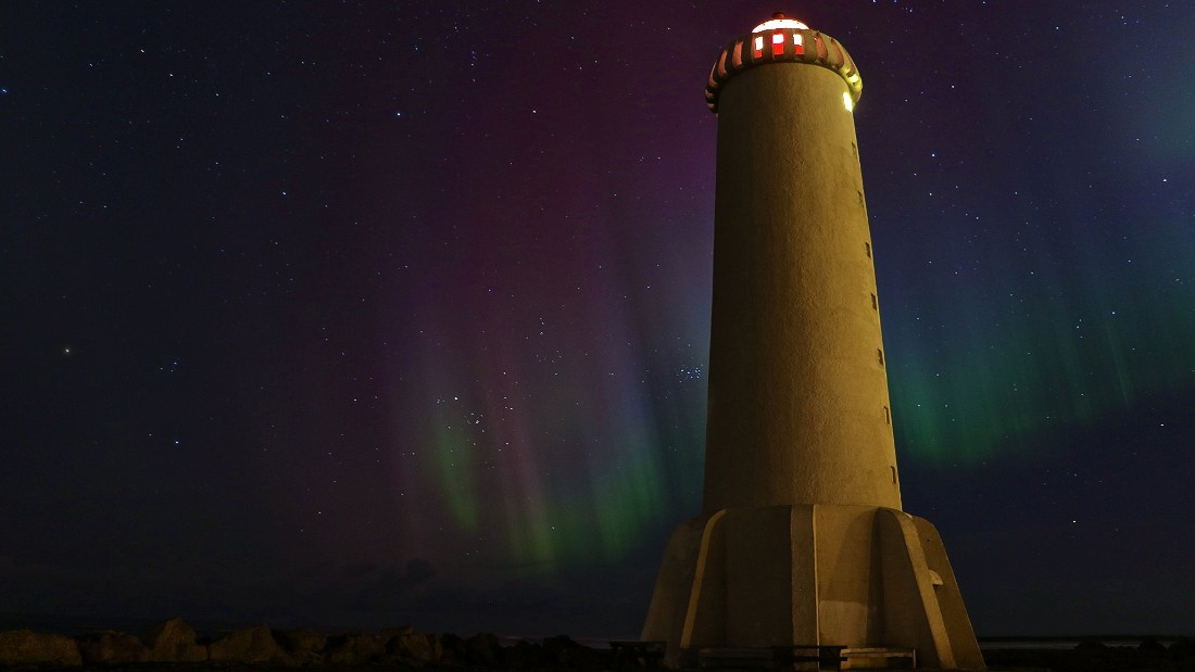 Winter is northern lights season in Iceland. Some of the best sites for spotting them are in western Iceland. Here, fishing villages like Akranes -- with its beautiful lighthouse -- Borgarnes, and the Snaefellsnes peninsula make great settings. Photo by Bjorn Ludviksson