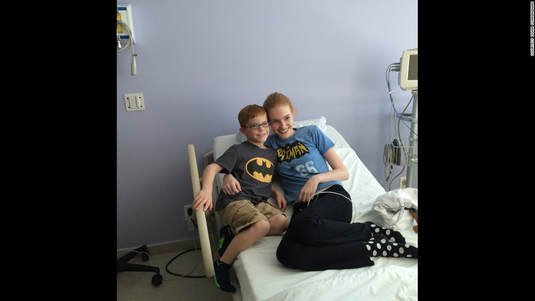 Sarah and her friend Tucker Beau, who also has juvenile arthritis, received stem cell treatments together in hopes of curing their disease. They wear Batman shirts to support each other.