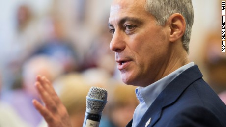 Chicago Mayor Rahm Emanuel talks with residents at a senior living center during a campaign stop on February 23, 2015 in Chicago, Illinois.