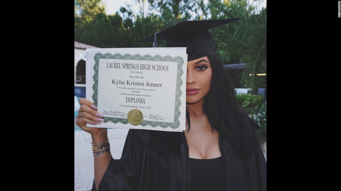 "Fans celebrated with Jenner's sister Kylie when she posted this picture to Instagram <a href=""https://www.instagram.com/p/5gPfhDHGvn/"" target=""_blank"">showing off her diploma</a>. The photo received 2.3 million likes."