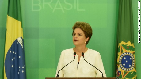 President Dilma Rousseff delivers a televised address on Dec. 2 after the impeachment announcement.