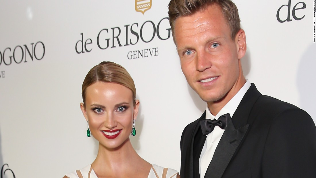 Grand slam finalist Tomas Berdych and Esther Satorova -- pictured -- tied the knot in July.