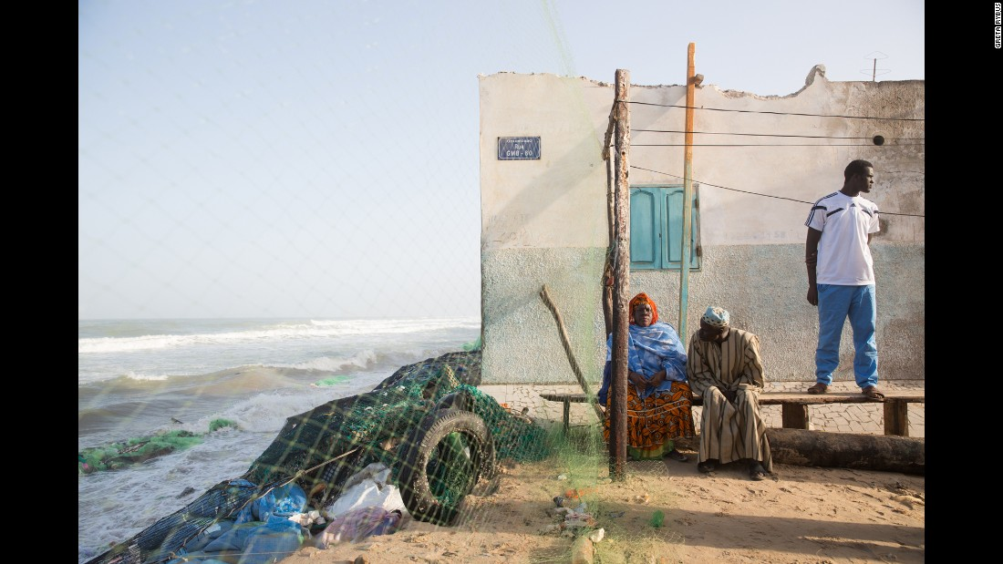 A particularly high tide eats away at the coastline, and while younger community members work to fortify the coast, a couple observes the unfolding damage. Rybus said the Senegalese government has been responding and paying very close attention to climate change and its effects on the nation.