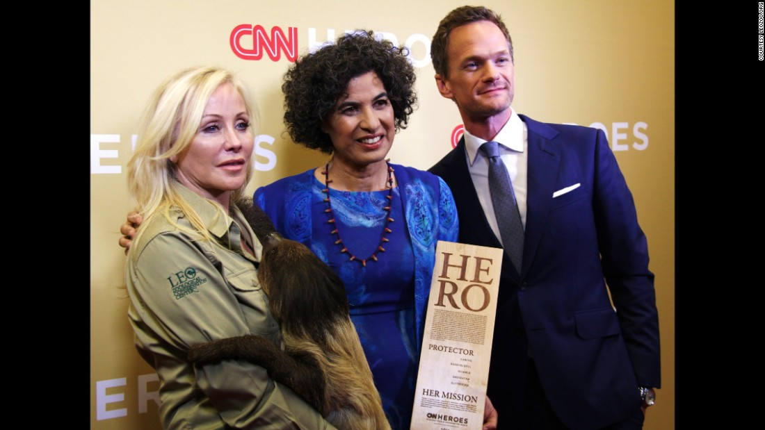 "Neil Patrick Harris presented Top 10 CNN Hero Monique Pool with her award for her work rescuing, rehabilitating and releasing sloths in Suriname. He welcomed her to the stage as ""the person who proves sloth is a virtue."""