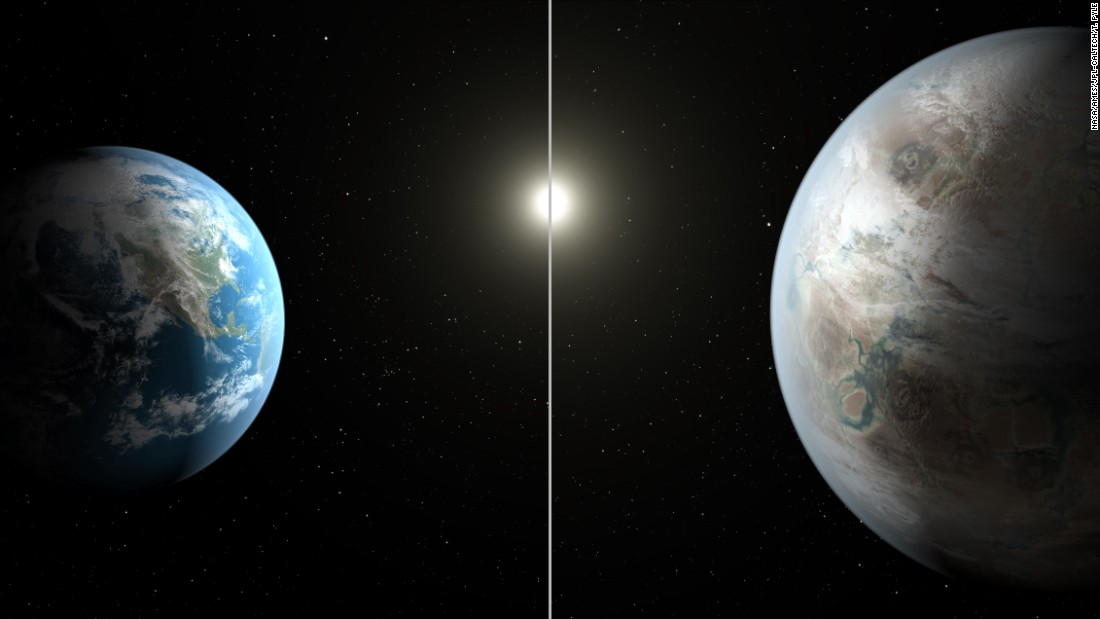 This artistic concept image compares Earth, left, with Kepler-452b, which is about 60% larger. Both planets orbit a G2-type star of about the same temperature; however, the star hosting Kepler-452b is 6 billion years old -- 1.5 billion years older than our sun.