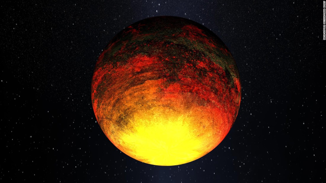 Kepler-10b orbits at a distance more than 20 times closer to its star than Mercury is to our own sun. Daytime temperatures exceed 1,300 degrees Celsius (2,500 degrees Fahrenheit), which is hotter than lava flows on Earth.