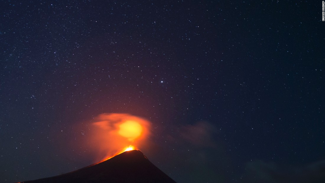 The Momotombo volcano erupts just before daybreak in Leon, Nicaragua, on December 4, 2015. The volcano had been quiet for many years.