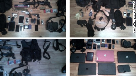 Police photos show items seized during the investigation.
