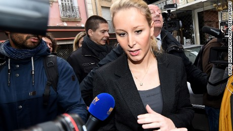 Marion Marechal-Le Pen, a National Front candidate, leaves a polling station Sunday in Carpentras, France.