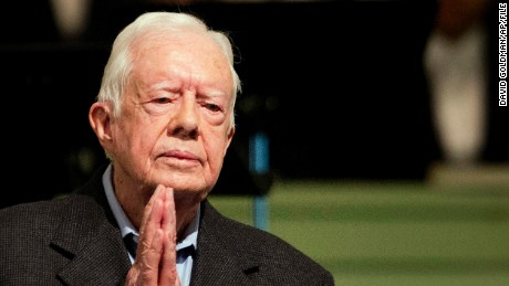 FILE - In a Sunday, Aug. 23, 2015 file photo, former President Jimmy Carter teaches Sunday School class at Maranatha Baptist Church in his hometown, in Plains, Ga. Former President Carter said Sunday, Dec. 6, 2015, that no cancer was detected in his latest scan. (AP Photo/David Goldman, File