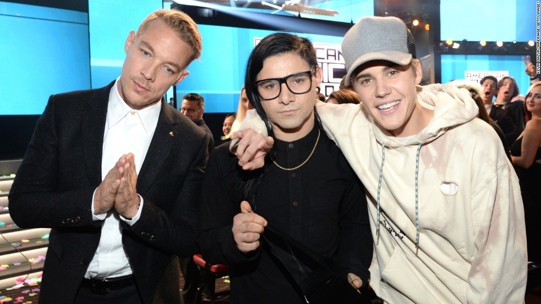 "Diplo, left, Skrillex, center, and Justin Bieber are nominated for best dance recording for Bieber's single ""Where Are Ü Now."" ""We're All We Need"" by Above & Beyond featuring Zoë Johnston, ""Go"" by the Chemical Brothers, ""Never Catch Me"" by Flying Lotus featuring Kendrick Lamar and ""Runaway (U & I)"" by Galantis are also nominated. <br />"