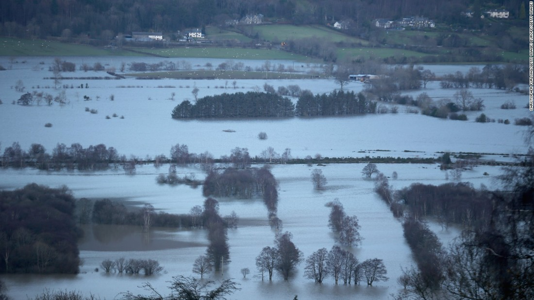 Fields around Keswick remain flooded December 6 after the weekend's torrential rain.