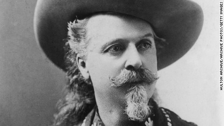 circa 1885:  Portrait of American showman, army scout, and pony express rider William F Cody (1846 - 1917) a.k.a. 'Buffalo Bill,' wearing a cowboy hat and an embroidered, fringed vest. In 1883 he founded Buffalo Bill's Wild West Show.  (Photo by Hulton Archive/Getty Images)