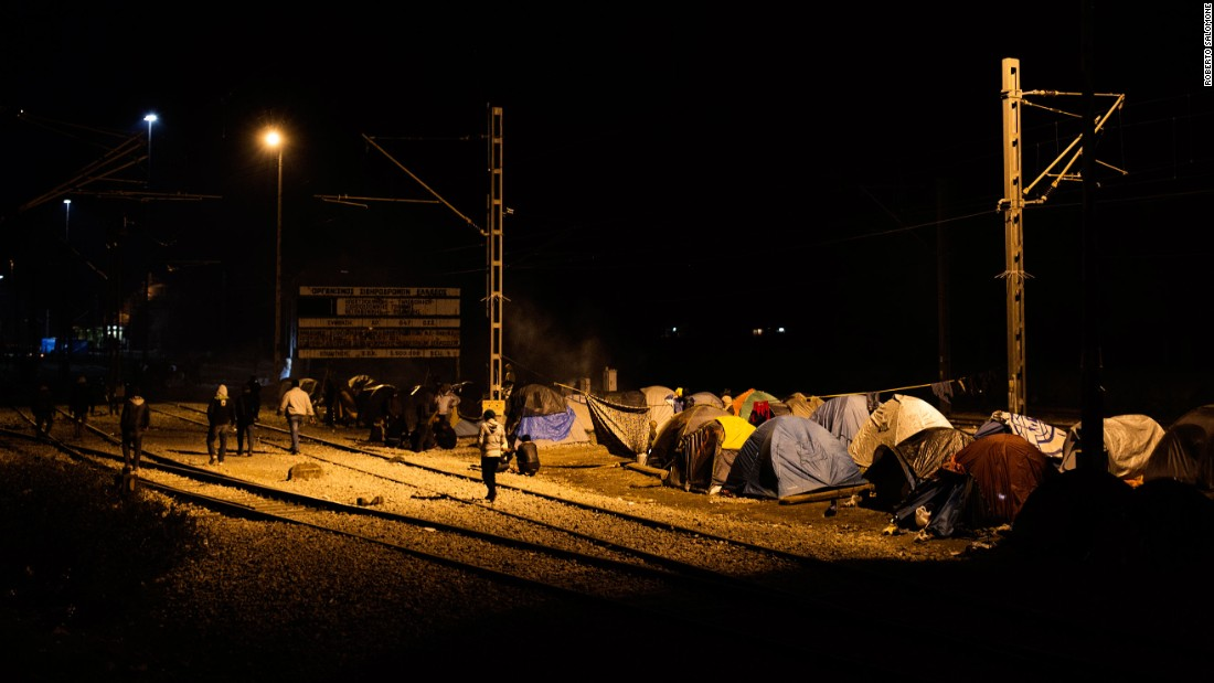 Migrants find temporary shelters in tents at the border.